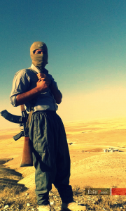 An Ezidi resistance fighter on the Shingal mountains