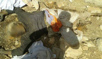 A decayed corpse of a men who died by thirst in Sinjar Mountains. Found by Ezidi strikers on 21st September 2014