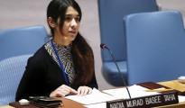 Nadia Murad, a Yezidi  IS victim, delivering her story at the UN Security Council