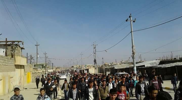Manifestants yézidis à Sinouné