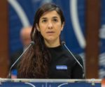 epa05579489 The former IS prisoner Nadia Murad delivers her speech after winning the Vaclav Havel Human Rights Prize in the Council of Europe in Strasbourg, France, 10 October 2016. The 23-year-old Jesidis fights against the enslavement of her faithmakers in the Northern Iraq by Islamic State (IS) militants. The young woman had found refuge in Baden-Wuerttemberg through a special program.  EPA/PATRICK SEEGER