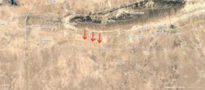 """Les flèches indiquent la zone où l'opération a lieu, """"La Revanche des femmes yézidis» (Wikimapia)"""