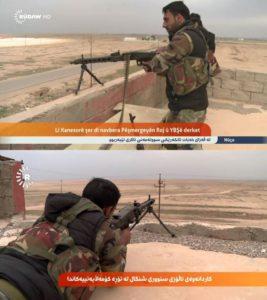 Arme G3. Type de fabrication allemand. Ces Fusils d'assaut ont été utilisé contre les Yézidis dans Hanasore. En 2014, 8000 pcs. de ces armes ont été fournies aux combattants peshmergas, et en 2015 - 4000 pcs.