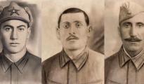 Sê ji hijmarek şehîdên Êzîdî di Şerê Cihanê ya Duyemîn (ji milê çepê): Feto, Ordo, Oskan