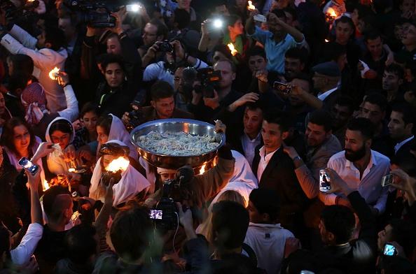 Neujahrszeremonie in Lalish zum Neujahr 2015 (Safin Hamed/AFP)