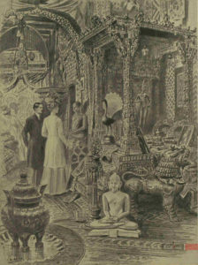 Queen Mary und ihr Ehemann stehen vor einer Pfauen-Statuette in Indien im Jahr 1912, gezeichnet von Samuel Begg