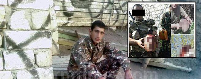 Aserbaidschanische Soldaten posieren mit dem Kopf eines enthaupteten êzîdîsch-armenischen Soldaten (VK)