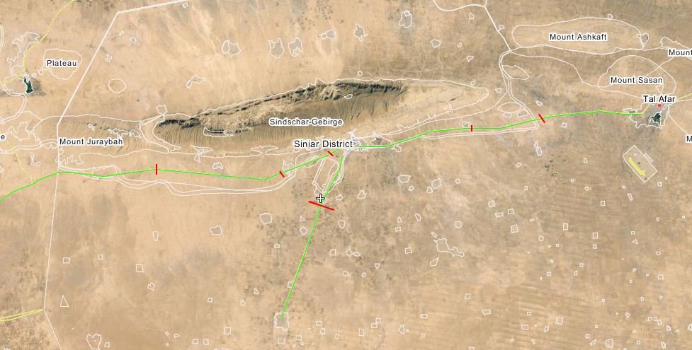 Gekappte Hauptversorgungs-Straßen der Terrormiilz IS in Shingal