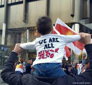 """""""Wir alle sind Heydar Shesho"""": Demonstration in Hannover gegen die Festnahme des êzîdîschen Oberkommadeurs"""