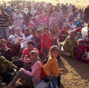 Menschen auf der Flucht vor dem IS-Terror in Kobanê