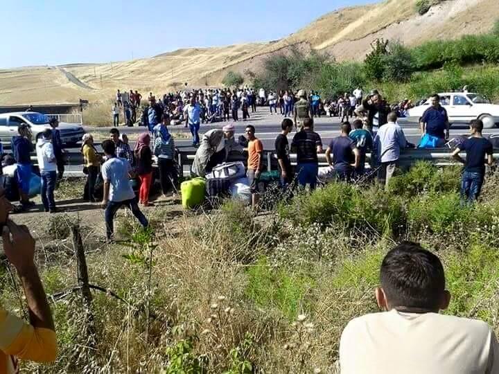 Êzîdîsche Flüchtlinge auf dem Weg zur bulgarischen Grenze