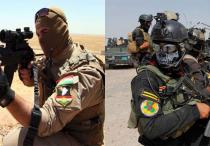 Peshmerga Soldat (li.) und Angehörige der irakischen Armee