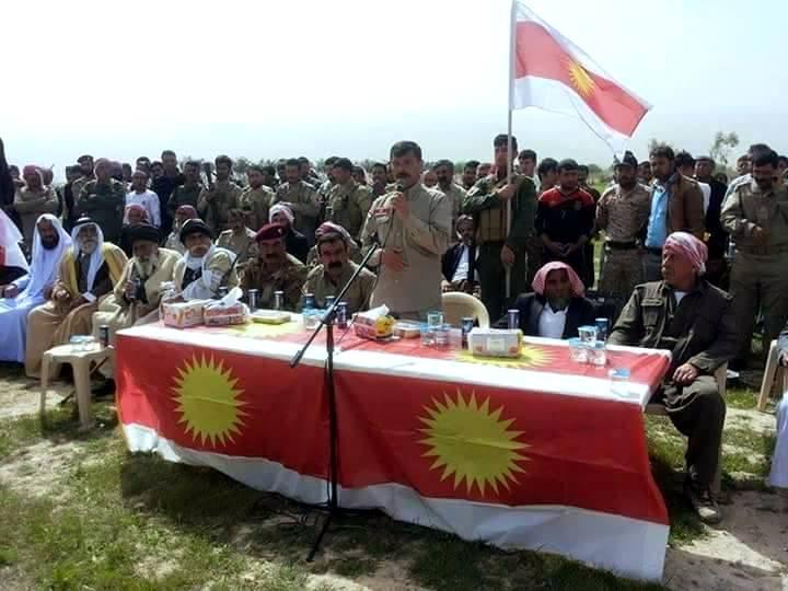 Oberkommandeur Heydar Shesho anlässlich der Eröffnung des neuen HPÊ-Ausbildungslagers in Shingal (6. März 2015)