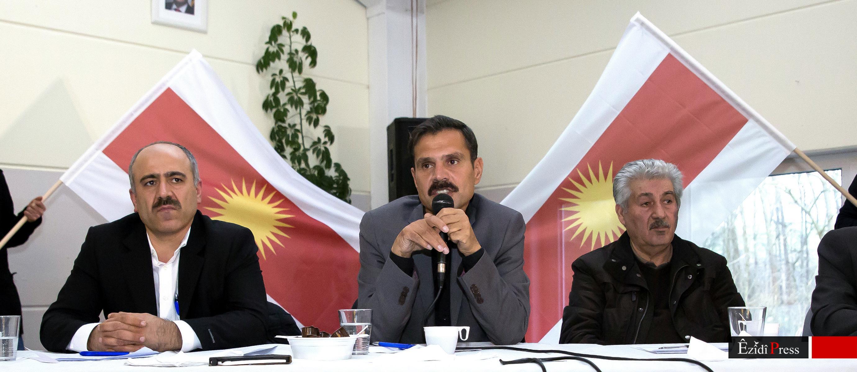 HPŞ-Oberkommandeur Heydar Shesho (mi.) am 11. Januar 2015 in Oldenburg: Diskussion über den Genozid in Shingal und die Zukunft der Êzîden