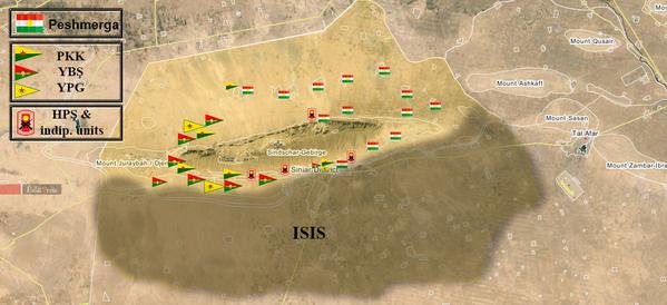 Gegenwärtige militärische Situation in Shingal (25. Okt 2015)