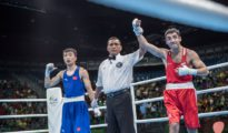 Misha Aloyan (rechts) gewinnt seinen Halbfinal-Kampf bei Olympia in Brasilien