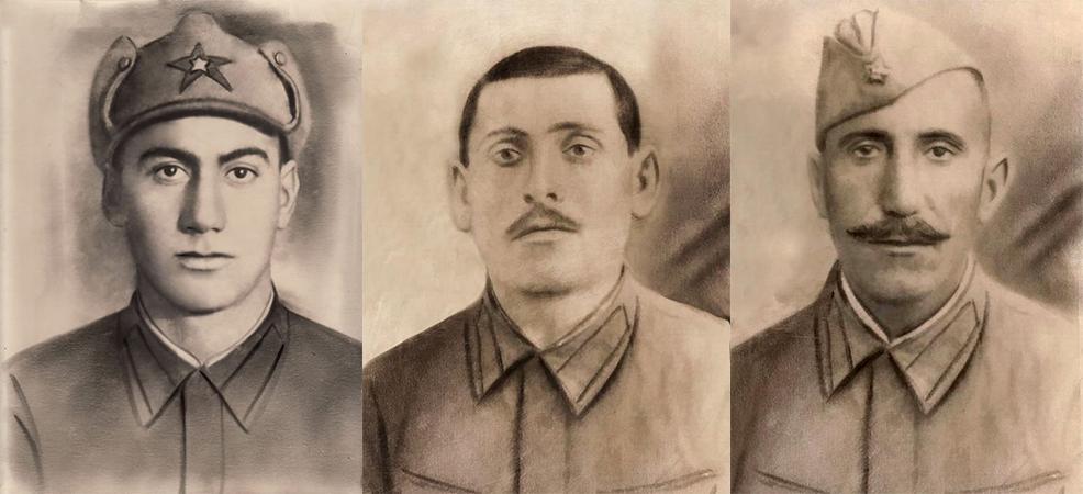 Êzîdîsche Brüder der Mihoyî-Familie und Soldaten der Roten Armee (v.l.n.r.): Feto, Ordo, Oskan