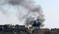 Rauch über dem Alten Markt in Shingal-Stadt