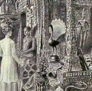 Queen Mary und ihr Ehemann stehen vor einer  Pfauen-Statuette in Indien im Jahr 1912