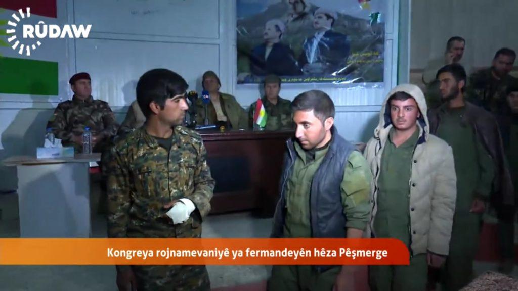 Von Peshmerga gefangen genommene Êzîden aus Khanasor (Screenshot Rudaw)