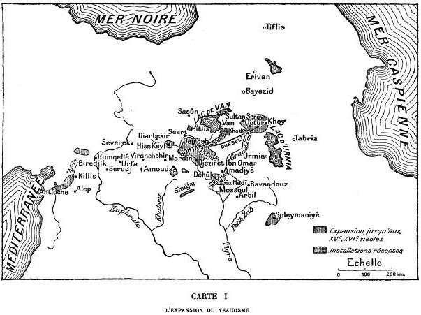 Abb. 8: (ehemalige) êzîdîsche Siedlungsgebiete